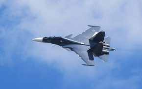 Picture the sky, flight, fighter, Russian, multipurpose, double, Su-30CM