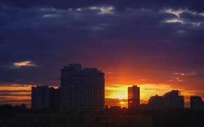 Picture sunset, clouds, the city, dark, building, outgoing