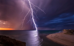 Picture the sky, night, lightning, the evening, Australia