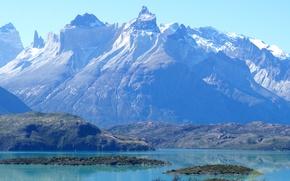 Picture mountains, nature, lake, blue, rocks, Chile, Patagonia, Pehoe Lake