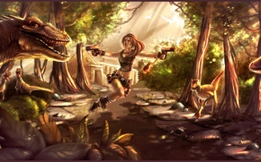 Picture girl, trees, stones, guns, the game, attack, dinosaurs, lara croft, tomb raider