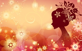 Wallpaper flowers, vector, girl