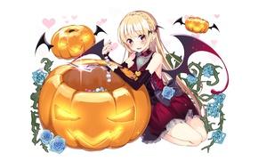 Picture girl, anime, art, pumpkin, Halloween, halloween