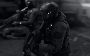 Picture costume, machine, soldiers, helmet, the vest, mercenaries, squad