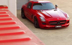 Picture red, Mercedes, red, Mercedes, sls, amg, AMG, SLS