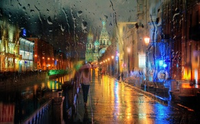 Picture girl, drops, rain, umbrella, Saint Petersburg