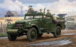 Picture machine, art, back, machine gun, USA, system, right, left, WW2, Browning, ahead, U.S. M3A1, machine …