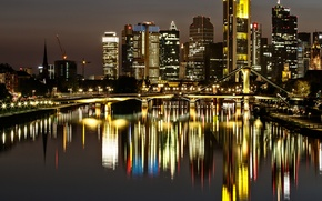 Picture night, bridge, lights, reflection, home, Germany, Frankfurt am main