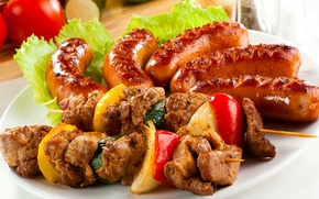 Picture greens, lemon, sausage, sticks, cucumber, meat, lemon, vegetables, tomato, cabbage, kebab, Meat, skewers, vegetables, greens, …