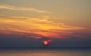 Picture sky, ocean, seascape, fireball, twilight, sunset, dusk, sea, horizon