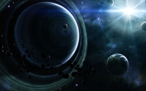 Picture stars, planet, ring, Asteroids, nebula