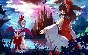 Picture night, lake, castle, wings, bow, the full moon, remilia scarlet, hakurei reimu, touhou project