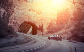 Picture McLaren, Sunset, Smoke, Supercar, Rear, Drifting