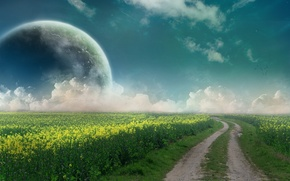 Picture road, field, the sky, clouds, planet