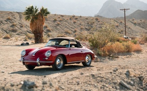 Picture car, red, desert, red, convertible, classic, classic, german, PORSCHE, 356B, ROADSTER