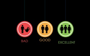 Picture signs, Good, Excellent, Bad