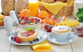 Picture raspberry, easy, food, Breakfast, juice, bread, fruit, cappuccino, food, fruit, orange, bread, breakfast, cappuccino, muesli, ...