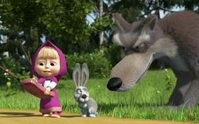 Wallpaper wolf, hare, phone, Masha and the bear