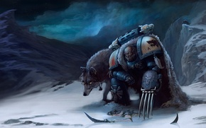 Picture snow, mountains, claws, wolves, Warhammer, Space Wolves, space Marines, 40k, hormagaunt, Tyranid