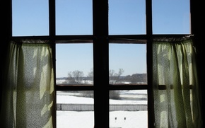 Picture the sky, snow, spring, window, curtains, wallpaper, wallpapers