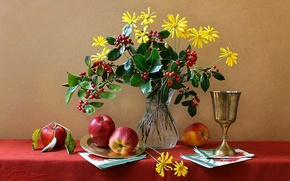 Picture flowers, apples, vase, fruit, still life, Cup