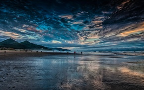 Picture mountains, nature, coast, beach. the ocean