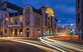 Picture lights, the building, the evening, Norway, theatre, Norway, Ålesund, Alesund