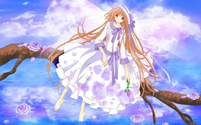 Picture the sky, water, smile, roses, branch, bow, art, CLAMP, symphony of colors, kobato hanato