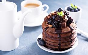 Picture berries, coffee, nuts, mint, BlackBerry, chocolate, blueberries, pancakes, pancake