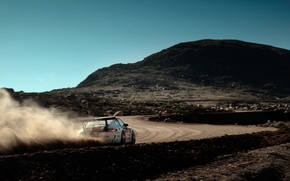 Picture road, machine, mountain, speed, dust, 911, Porsche