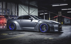 Picture Nissan, GT-R, Car, Front, Side, Tuning, Wheels, Spoiler, Liberty Walk, LB Perfomance