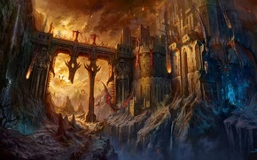 Picture bridge, castle, fire, dragons, army, battle, fortress