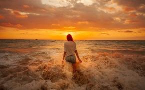 Picture sea, beach, girl, clouds, sunrise, horizon