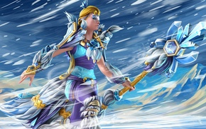 Picture girl, game, staff, game, DotA 2, Crystal Maiden, Defense of the Ancients, DOTA 2