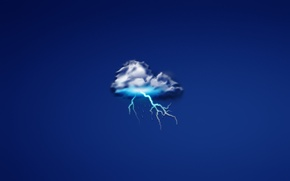 Picture drops, rain, lightning, minimalism, cloud, cloud, thunder, dark blue background