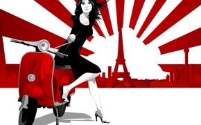 Wallpaper Paris, girl, moped