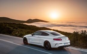 Picture car, landscape, mountains, Mercedes, AMG, Coupe, C63 S