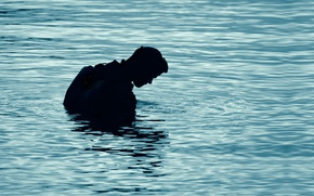 Picture lake, silhouette, diving