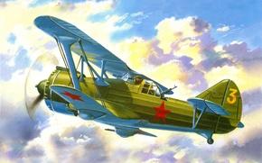Picture the sky, clouds, figure, attack, Soviet, double, biplane, retractable, sossi, Di-6SH