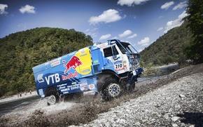 Picture mountains, squirt, river, dust, truck, rally, KAMAZ, kamaz, Paris-Dakar, KAMAZ-master