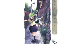 Picture street, the fence, post, white background, schoolgirl, bag, sailor, touhou projeck, art kochi have done