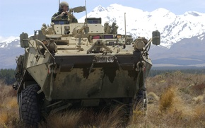 Wallpaper soldiers, armor, mountains, machine