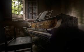 Wallpaper window, chair, piano