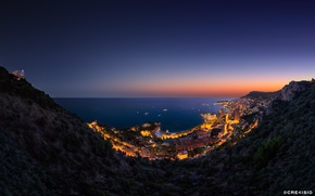 Picture sea, the city, lights, mountain, the evening, hill, Vista Palace over Monaco