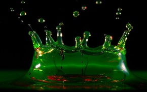 Wallpaper water, green, Drops