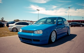 Picture blue, volkswagen, Golf, golf, tuning, the front, Volkswagen, gti, the auto show