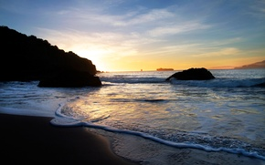 Picture sand, sea, beach, foam, water, sunset, shore, dal, the evening, stones., liner, tide, the contours