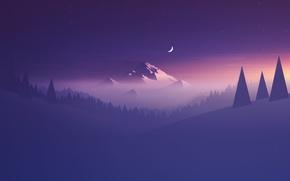 Wallpaper Purple, Mountain, Abstraction, Moon, Minimalism