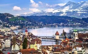 Wallpaper panorama, mountains, Lucerne, lake, Lucerne, Switzerland