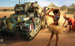Wallpaper islanders, Nikita Bolyakov, Mk.II Matilda, art, hut, desert, sand, World of Tanks, figure, tank, girls, ...